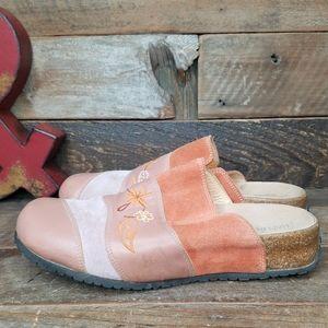 Haflinger Suede & Smooth Leather Slip On Clogs